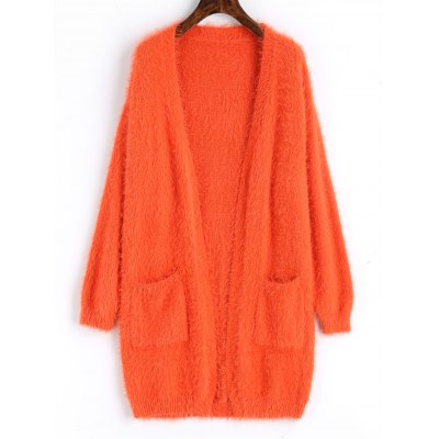 Textured Open Front Longline Cardigan plus size pockets chunky knit long ope front slit cardigan