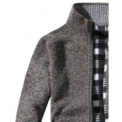 Knit Blends Tartan Fleece Lining Zip Up JacketMens Jackets &amp; Coats<br>Knit Blends Tartan Fleece Lining Zip Up Jacket<br><br>Closure Type: Zipper<br>Clothes Type: Jackets<br>Collar: Stand Collar<br>Material: Polyester, Cotton<br>Occasion: Holiday, Going Out, Daily Use, Party, Casual<br>Package Contents: 1 x Jacket<br>Season: Winter<br>Shirt Length: Regular<br>Sleeve Length: Long Sleeves<br>Style: Vintage, Streetwear, Fashion, Casual<br>Weight: 0.7600kg