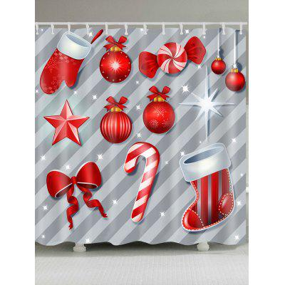 Christmas Candy Pattern Showerproof Bathroom Curtain