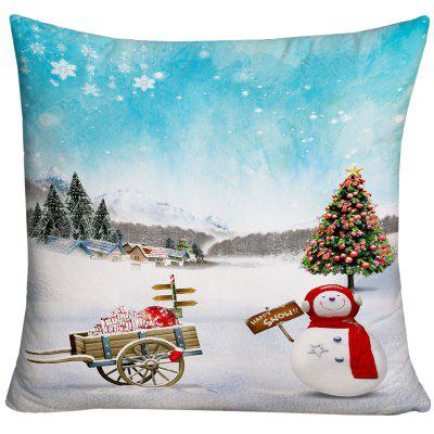 Christmas Snowscape Print Decorative Throw Pillow Case