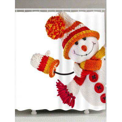 Knitted Snowman Doll Printed Waterproof Shower Curtain