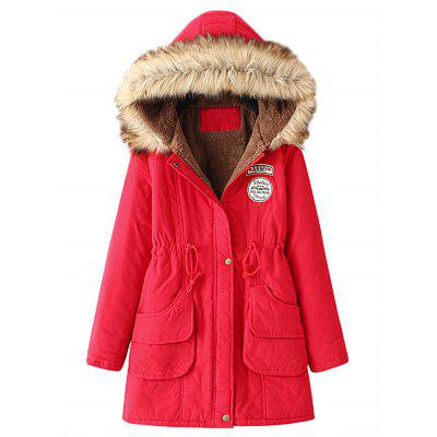 Buy RED L Fur Collar Snap Button Parka Coat for $35.83 in GearBest store