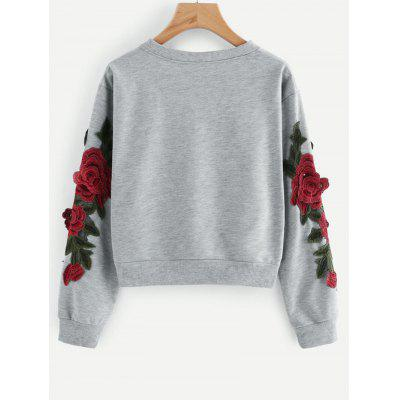 Crop Flower Patched SweatshirtSweatshirts &amp; Hoodies<br>Crop Flower Patched Sweatshirt<br><br>Clothing Style: Sweatshirt<br>Material: Polyester<br>Package Contents: 1 x Sweatshirt<br>Pattern Style: Floral<br>Shirt Length: Short<br>Sleeve Length: Full<br>Weight: 0.3400kg