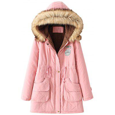 Buy PINK L Fur Collar Snap Button Parka Coat for $35.83 in GearBest store