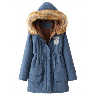 Buy CADETBLUE L Fur Collar Snap Button Parka Coat for $35.83 in GearBest store