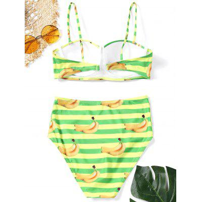 Striped Banana Print Bikini SetLingerie &amp; Shapewear<br>Striped Banana Print Bikini Set<br><br>Bra Style: Push Up<br>Elasticity: Elastic<br>Gender: For Women<br>Material: Nylon, Spandex<br>Neckline: Spaghetti Straps<br>Package Contents: 1 x Bra  1 x Bottom<br>Pattern Type: Striped<br>Support Type: Underwire<br>Swimwear Type: Bikini<br>Waist: High Waisted<br>Weight: 0.2900kg