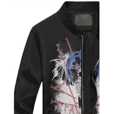 Stand Collar 3D Chain Graphic Print Zip Up JacketMens Jackets &amp; Coats<br>Stand Collar 3D Chain Graphic Print Zip Up Jacket<br><br>Closure Type: Zipper<br>Clothes Type: Jackets<br>Collar: Stand Collar<br>Material: Cotton, Polyester<br>Occasion: Holiday, Going Out, Party, Daily Use, Casual<br>Package Contents: 1 x Jacket<br>Season: Winter, Fall<br>Shirt Length: Regular<br>Sleeve Length: Long Sleeves<br>Style: Streetwear, Fashion, Casual<br>Weight: 0.4500kg