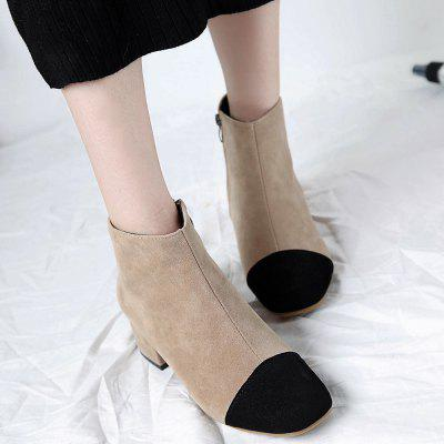 Square Toe Stacked Heel Ankle BootsWomens Boots<br>Square Toe Stacked Heel Ankle Boots<br><br>Boot Height: Ankle<br>Boot Type: Fashion Boots<br>Closure Type: Zip<br>Gender: For Women<br>Heel Height: 6CM<br>Heel Height Range: Med(1.75-2.75)<br>Heel Type: Chunky Heel<br>Package Contents: 1 x Boots (pair)<br>Pattern Type: Patchwork<br>Season: Spring/Fall, Winter<br>Shoe Width: Medium(B/M)<br>Toe Shape: Square Toe<br>Upper Material: Suede<br>Weight: 1.2000kg