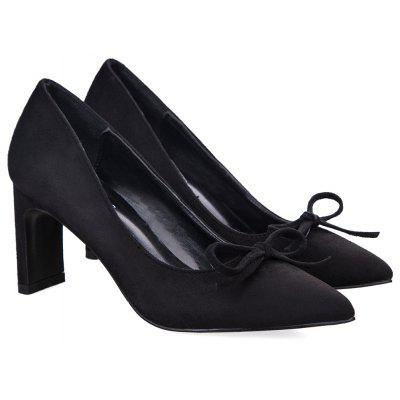 Bowknot Pointed Toe PumpsWomens Pumps<br>Bowknot Pointed Toe Pumps<br><br>Heel Height Range: High(3-3.99)<br>Heel Type: Chunky Heel<br>Occasion: Casual<br>Package Contents: 1 x Pumps (pair)<br>Pumps Type: Basic<br>Season: Spring/Fall, Winter<br>Shoe Width: Medium(B/M)<br>Toe Shape: Pointed Toe<br>Toe Style: Closed Toe<br>Upper Material: Suede<br>Weight: 1.3800kg