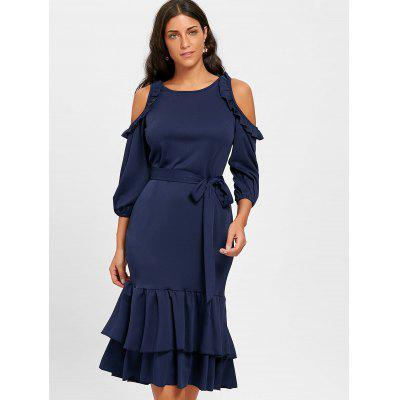 Ruffles Cold Shoulder Dress with BeltBodycon Dresses<br>Ruffles Cold Shoulder Dress with Belt<br><br>Dresses Length: Mid-Calf<br>Embellishment: Ruffles<br>Material: Polyester, Spandex<br>Neckline: Round Collar<br>Package Contents: 1 x Dress 1 x Belt<br>Pattern Type: Solid Color<br>Season: Spring, Fall<br>Silhouette: Bodycon<br>Sleeve Length: 3/4 Length Sleeves<br>Sleeve Type: Cold Shoulder<br>Style: Brief<br>Weight: 0.5800kg<br>With Belt: Yes