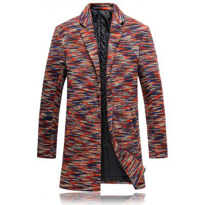 Solapa Knit Blends One Button Padded Coat