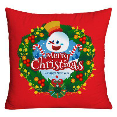 Merry Christmas Wreath Print Funda de almohada decorativa
