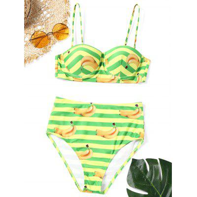 Striped Banana Print Bikini Set