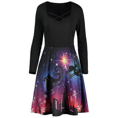 Long Sleeve Gorgeous Night Scene Print Dress