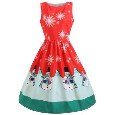 Snowflake Snowman Print Christmas Midi Dress