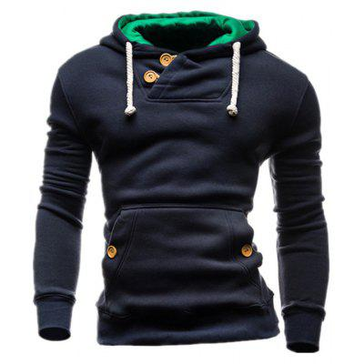Hooded Buttons Pocket Fleece Pullover Hoodie
