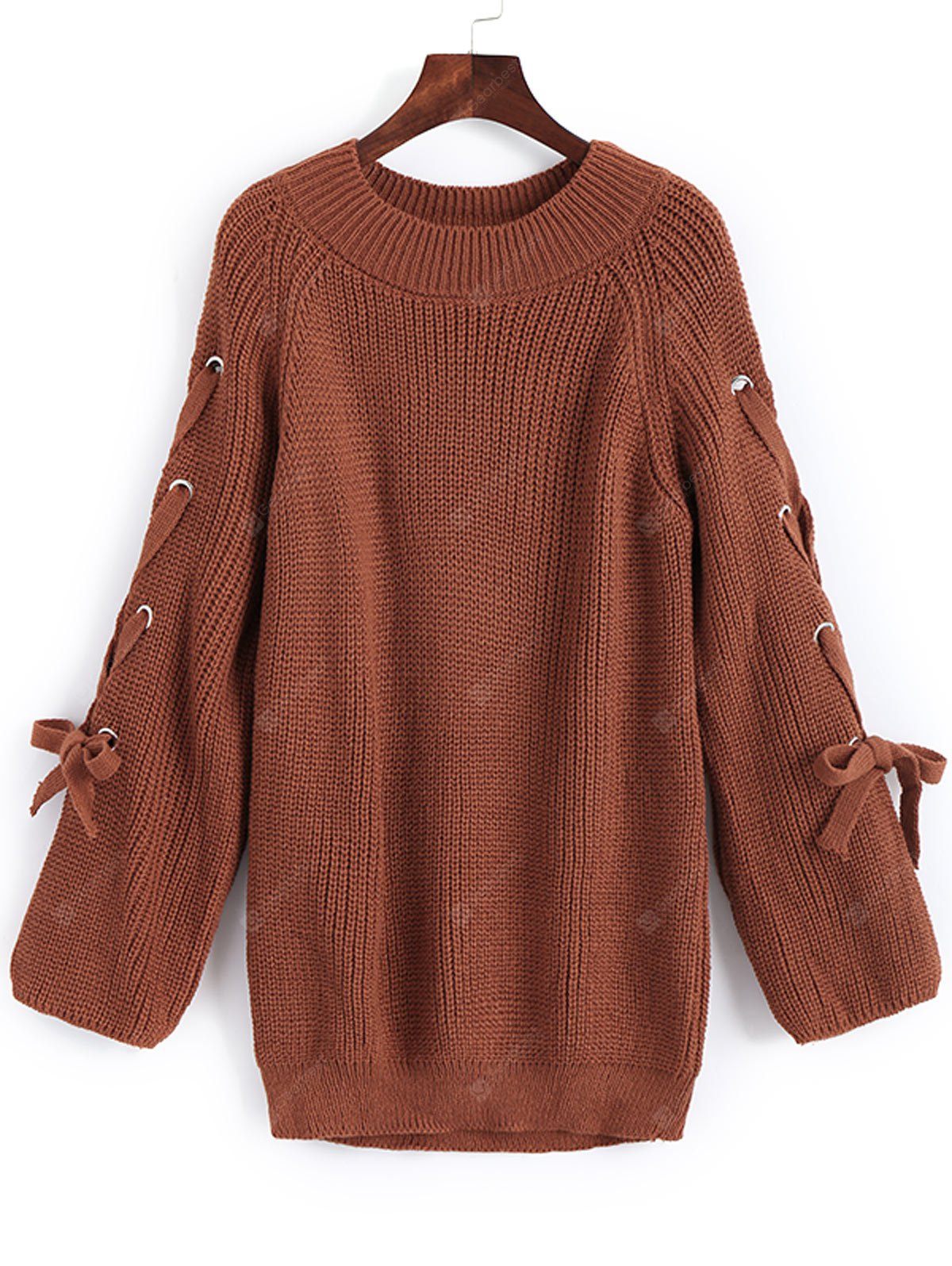 Lace Up Pullover Raglan Sleeve Sweater