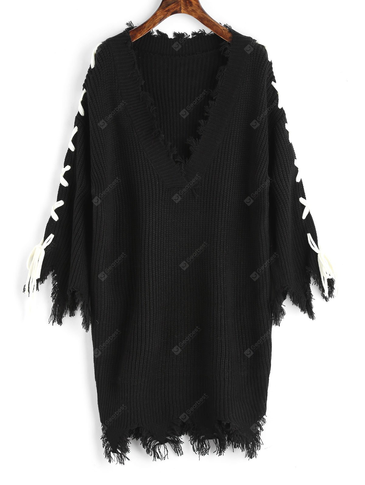 BLACK Frayed Lace Up V Neck Sweater Dress