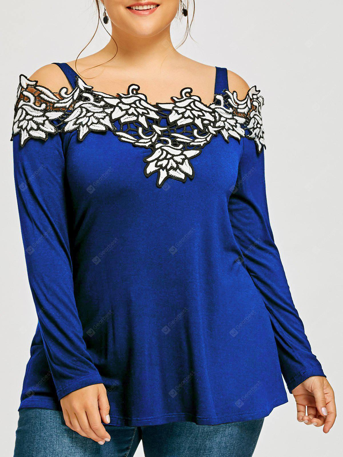 Plus Size Long Sleeve Embroidered Cold Shoulder T-shirt