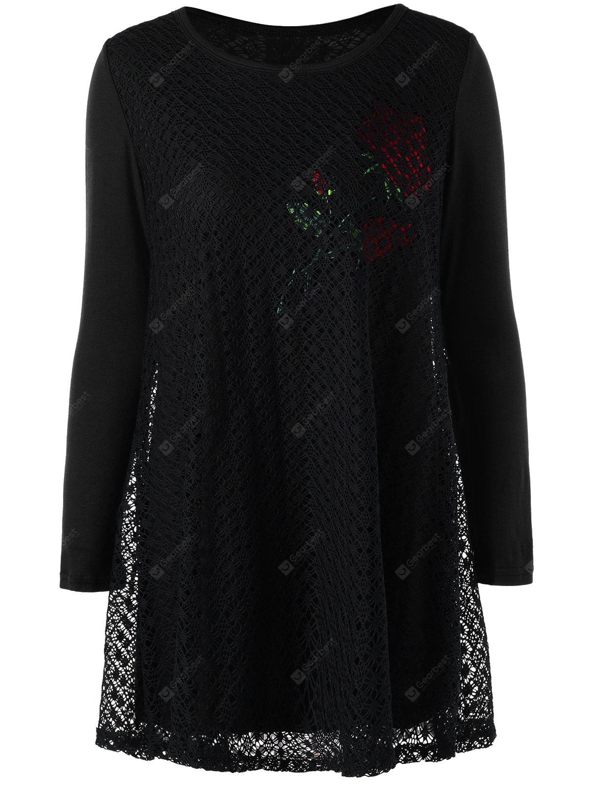 Plus Size Openwork Rose Pattern Tunic Blouse