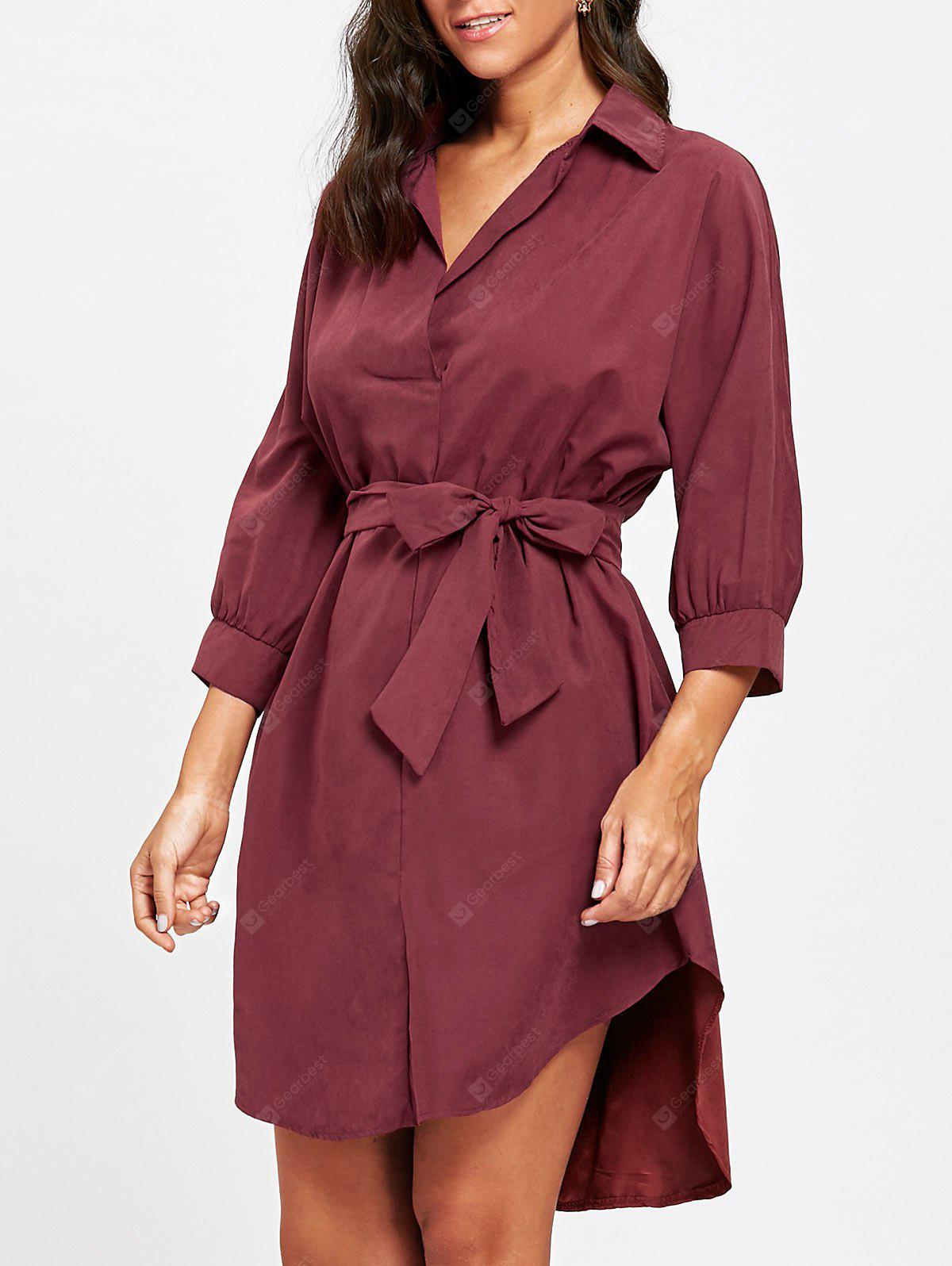 High Low Belted Knee Length Dress