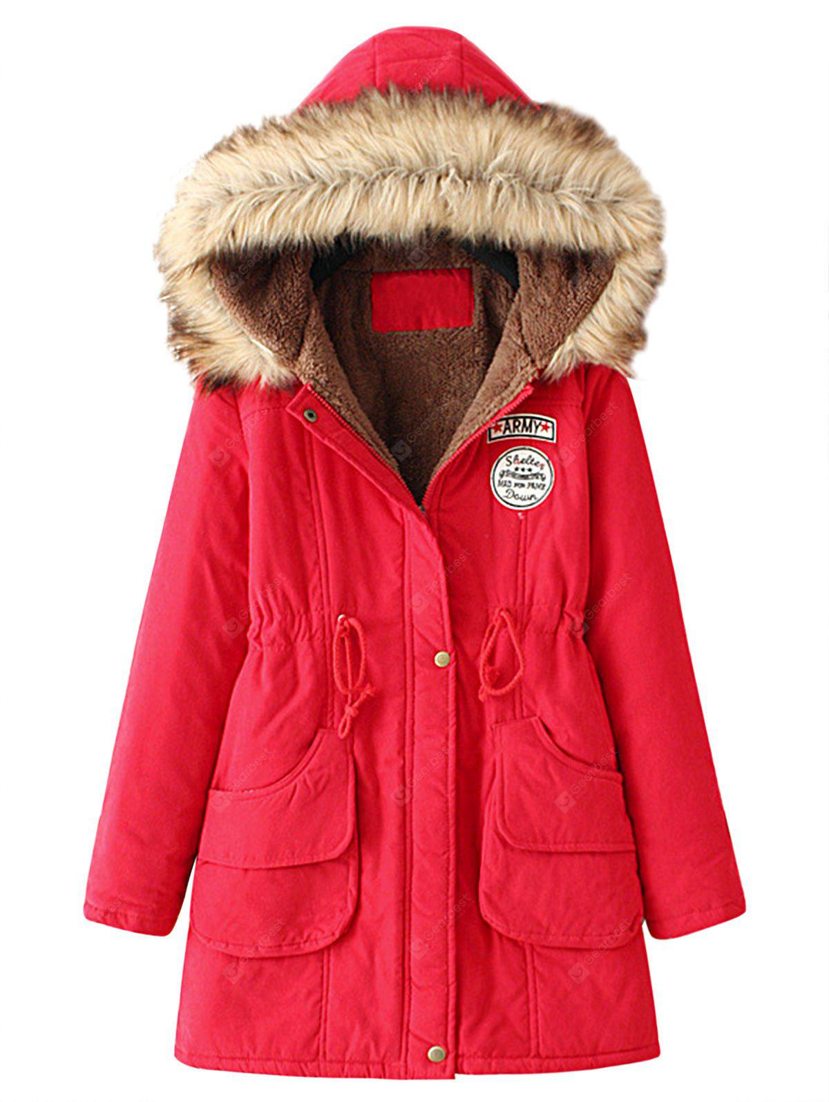 Fur Collar Snap Button Parka Coat