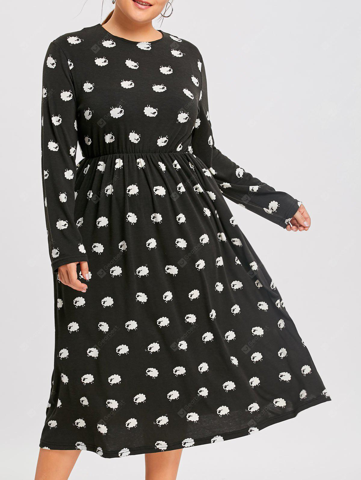 Plus Size Sheep Printed Long Sleeve Dress
