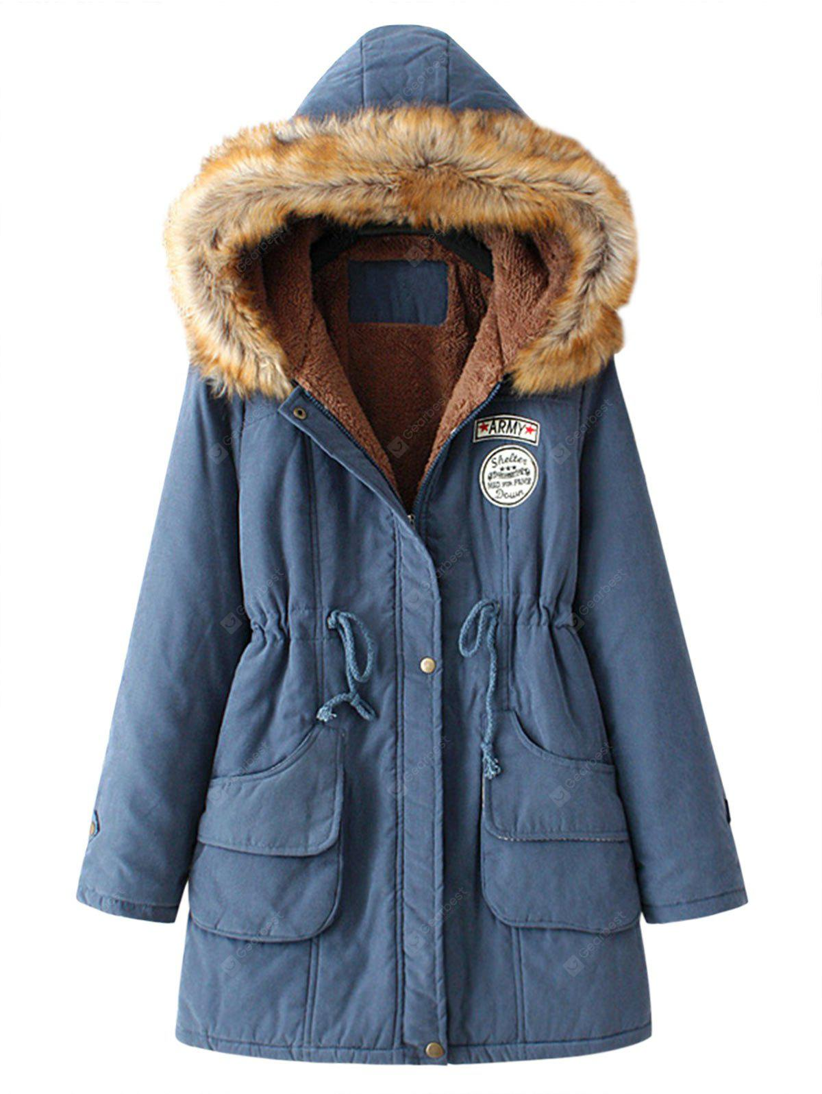CADETBLUE 2XL Fur Collar Snap Button Parka Coat