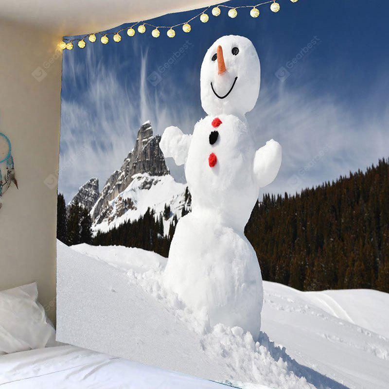 Snowy Mountain Snowman Pattern Tapiz de arte de pared