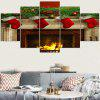 Christmas Burning Fireplace Pattern Wall Stickers - COLORFUL