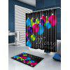 Colored Balls Printed Waterproof Christmas Shower Curtain - COLORFUL
