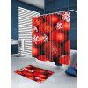 Bolo De Neve De Natal Red Balls Printed Waterproof Shower Curtain - VERMELHO