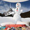 Snowy Mountain Snowman Pattern Wall Art Tapestry - CRYSTAL CREAM
