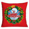 Merry Christmas Wreath Print Funda de almohada decorativa - ROJO