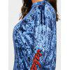 Drop Shoulder Letter Embroidered Velvet Sweatshirt - BLUE