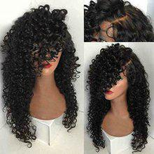 Side Parting Long Kinky Curly Synthetic Wig