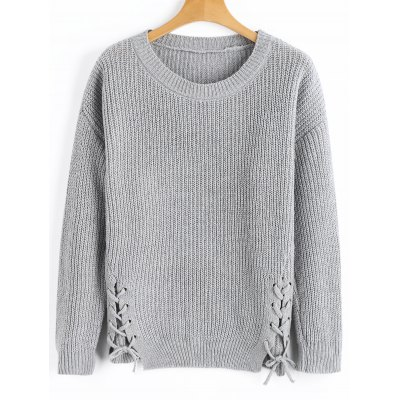 Gray Ribbed Lace Up Pullover Sweater ONE SIZE-$27.4 Online ...