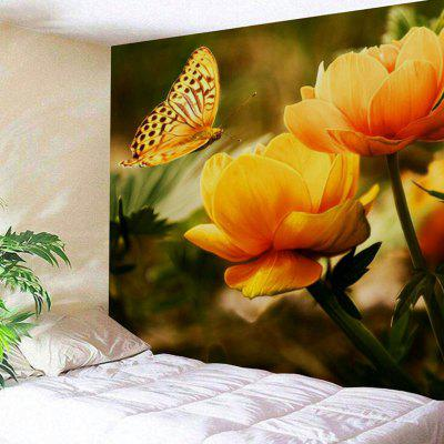 Buy COLORMIX Butterfly and Flower Print Wall Art Polyester Tapestry for $21.10 in GearBest store