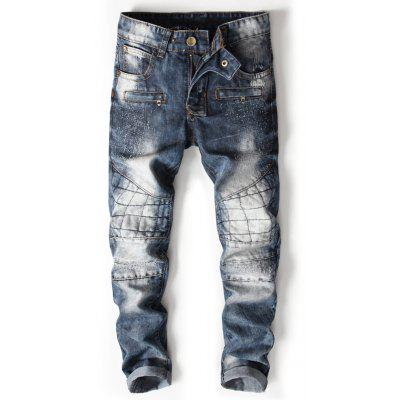 Zipper Fly Bleached Suture Panel Ripped Jeans