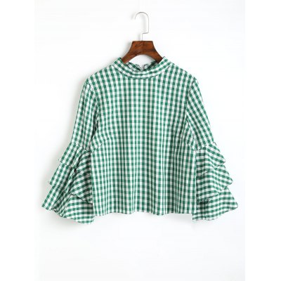 Buy GREEN S Layered Sleeve Checked Keyhole Blouse for $23.40 in GearBest store