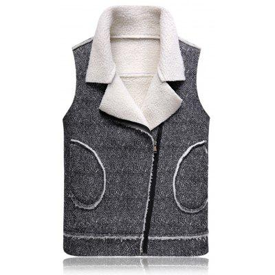 Turndown Collar Oblique Zip Up Fleece Waistcoat