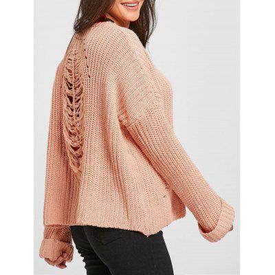 Crew Neck Drop Shoulder Ripped Sweater
