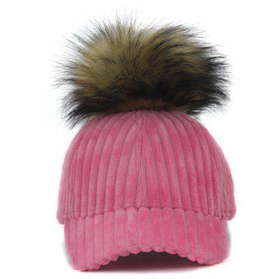 Outdoor Removable Fuzzy Ball Embellished Corduroy Baseball Hat