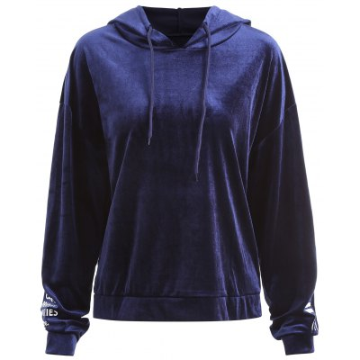 Plus Size Letter On Sleeves Velvet Hoodie