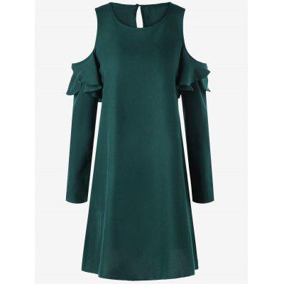 Buy BLACKISH GREEN M Long Sleeve Ruffle Cold Shoulder Mini Dress for $23.17 in GearBest store
