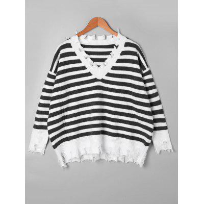 Drop Shoulder Striped Ripped Sweater