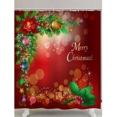Merry Christmas Graphic Polyester Waterproof Bath Curtain