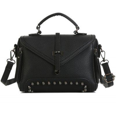 Studs Faux Leather Crossbody Bag