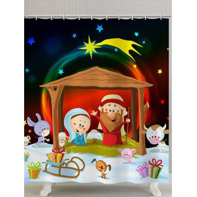 Christmas Graphic Waterproof Polyester Bath Curtain