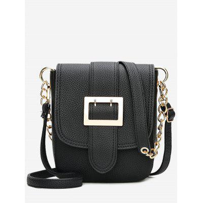 Buckle Strap Chain Faux Leather Crossbody Bag